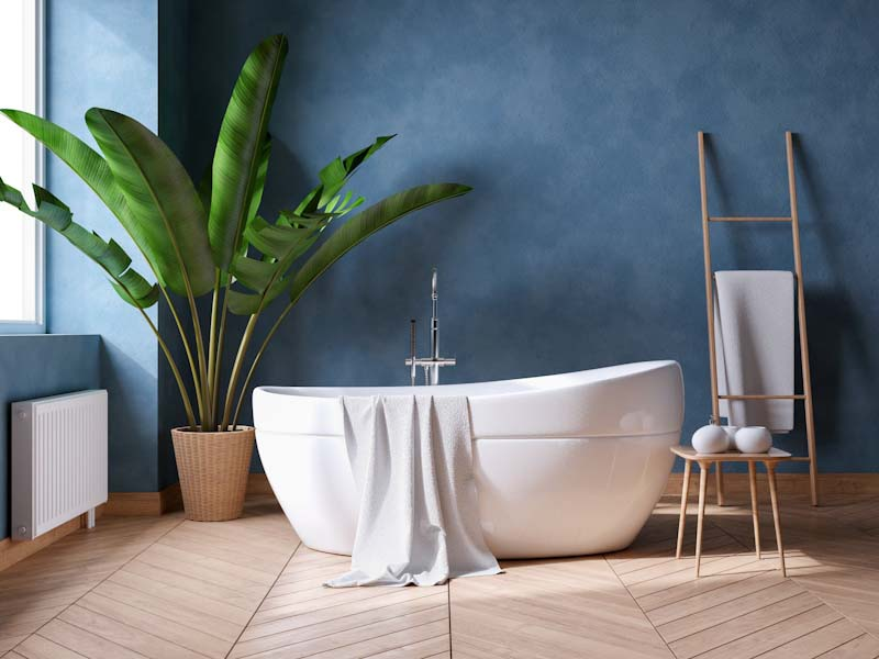 Luxurious Modern Bathroom interior design,white bathtub on grunge dark blue wall,3d render